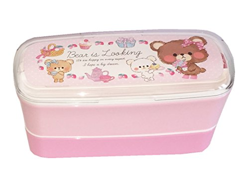 crux bear 2 layers bento lunch box with chopsticks bear pink desertcart. Black Bedroom Furniture Sets. Home Design Ideas