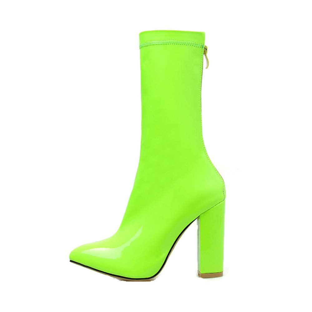Women's Ankle Booties Buckle Strap Side Zipper Chelsea Boots Fashion Comfortable Flat Shoes (US:8.0, Green)