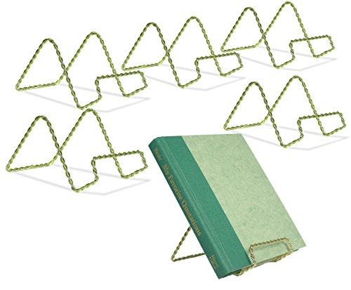 BANBERRY DESIGNS Wire Easel Display Stand - Twisted Brass Metal - 3 Inch - Pack of 6 - Craft Accessory - Small Books or Photos