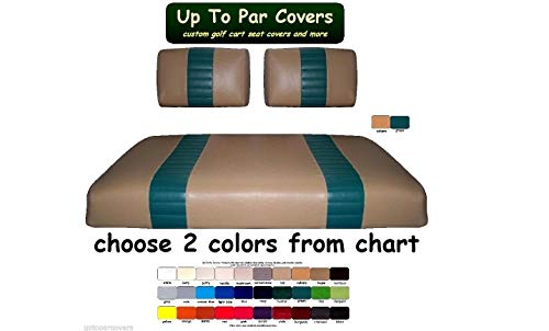 E-Z-Go Marathon Custom 2-Stripe Golf Cart Seat Cover Set Made with Marine Grade Vinyl - Staple On - Choose Your Colors From Our Color Chart!