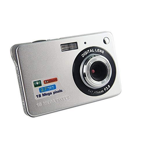 CamKing Digitalkamera 720P HD 8X Digitalzoom Videokamera Anti-Shake 2,7 Zoll LCD Bildschirm Digitalzoom Kamera für Kinder Kinderferien (Silber)