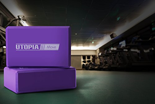 Sturdy and Dense Foam Yoga Block (set of 2) Purple Color, Slip Resistant, 3 x 6 x 9 Inch by Utopia Home