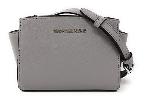 Michael Kors Selma Mini Saffiano Leather Crossbody Bag in Ash Grey