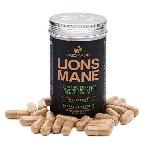 Lion's Mane Mushroom Capsules, Nerve Growth Factor (NGF) & Nootropic (Memory), Dual Extract, 30% Beta-D-Glucans