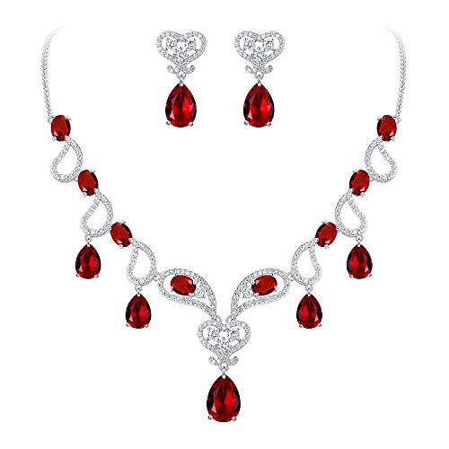 (BriLove Women's Bohemian Boho CZ Teardrop Hollow Heart Shape Statement Necklace Dangle Earrings Set Ruby Color Silver-Tone July Birthstone)