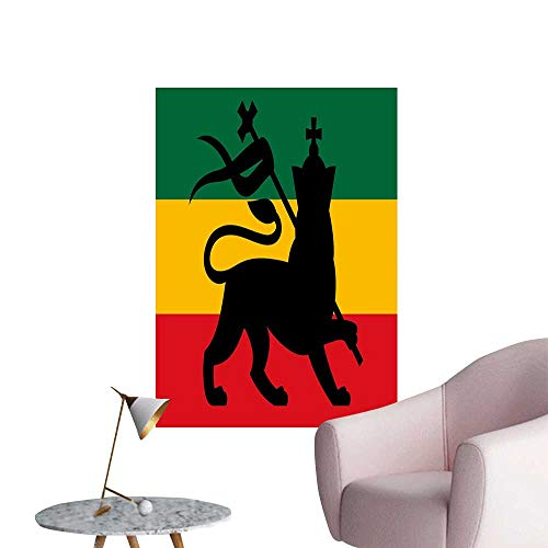 Rasta 3D Murals Stickers Wall Decals Rastafarian Flag with Judah Lion on Reggae Music Inspired Decor Image Mural Blackboard DIY White Black Red Green and Yellow W24 x H36