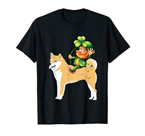 Leprechaun Riding Shiba Inu Dog Shirt St Patricks Day -