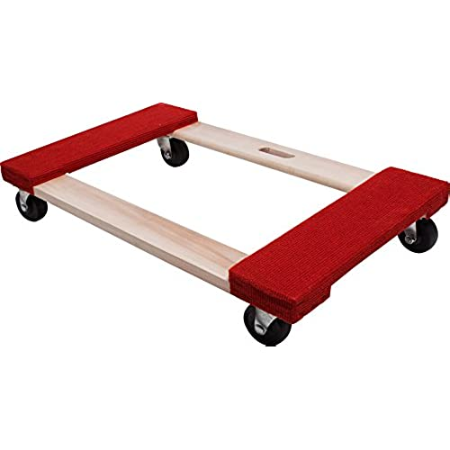 Move It 9850 Carpeted Solid Wood Moving Dolly, 20 Inch X 30 Inch, 840 Lb  Load Capacity, 3 Inch Hard Rubber Casters