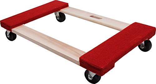 d Solid Wood Moving Dolly, 20-Inch x 30-Inch, 840-lb Load Capacity, 3-Inch Hard Rubber Casters ()