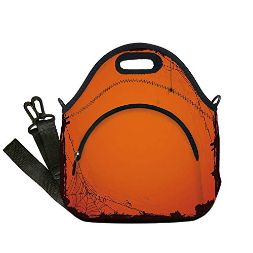 Insulated Lunch Bag,Neoprene Lunch Tote Bags,Spider Web,Grunge Halloween Composition Scary Framework with Insects Abstract Cobweb,Orange Brown,for Adults and children ()