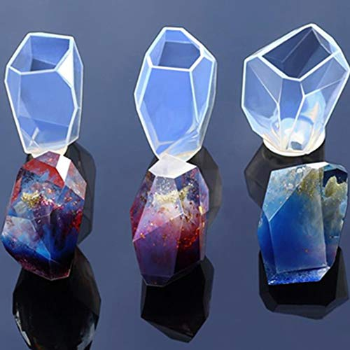 Gem Stone Crystal Mold Silicone Candle Molds 3 Shapes Large Size Resin Stone Mold for Jewelry Making, Aromatherapy Candle Making and Crafting Projects (Silicone Candle)