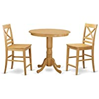 East West Furniture JAQU3-OAK-W 3 Piece High Table and 2 Counter Height Stool Set