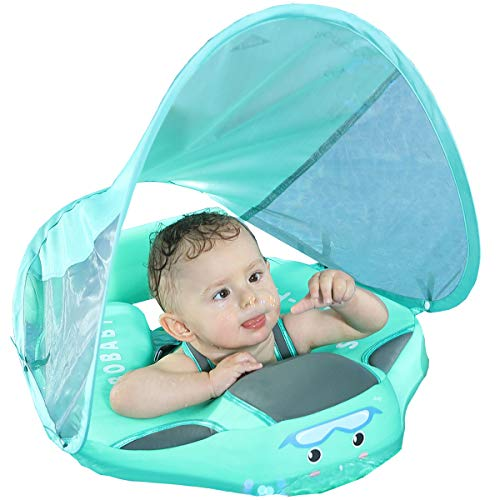 Newest add tail no flip over from 2019 12 23 MamboBaby Solid Swimming Float Non Inflatable Swim Trainer Pool Float Swim Ring Mambo Float Mambobaby Float with Canopy Swim Ring with Sun Shade UPF 50+