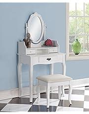 Roundhill Furniture Ribbon Wood Make-Up Vanity Table and Stool Set, White
