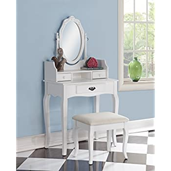 Roundhill Furniture Ribbon Wood Make Up Vanity Table And Stool Set, White