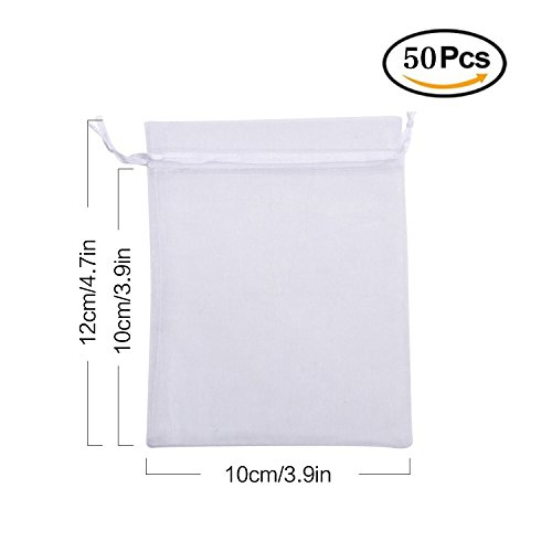 Superadapter Drawstring Organza Gift Bags Jewelry Favor Pouches Wedding Favor Party Festival Candy Bags (50X(10X12 cm/ 3.9X4.7 inches))