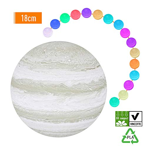 Decdeal 7.8 Inch 3D Printing Jupiter Light, LED 16 Colors Dimmable Night Lamp with Wooden Stand, Touching Jupiter Light, Remote Control, USB Rechargeable, PLA Material, Environmentally Friendly ()