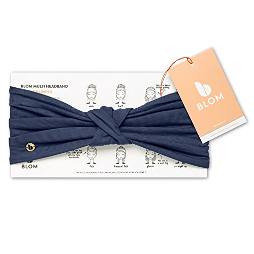 BLOM Multi Style Headband for Sports or Fashion, Yoga or Travel. Happy Head Guarantee - Super Comfortable. Designer Style & Quality (Indigo)