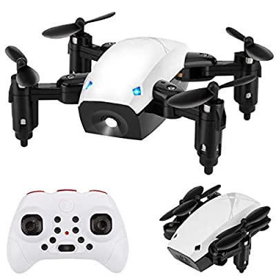 Foldable Mini Drone for Kids and Beginners, HALOFUNO RC Quadcopter Helicopter Remote Control Toys with Auto Hovering, Headless Mode, 3D Flip and Remote Control-White