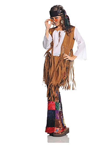 [Underwraps Costumes  Women's Retro Hippie Costume - Peace Out, White/Tan/Multi, Large] (Flower Child Costumes Ideas)