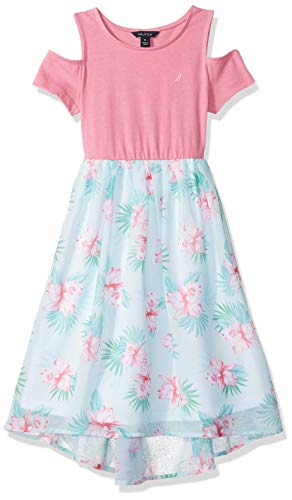 Nautica Little Girl's Short Sleeve Fashion Dress, Cold Floral Pink, 6 -