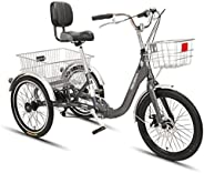 Folding Adult Tricycles 7 Speed 3 Wheel Bike Cruiser Trike with Large Basket Foldable Tricycle for Adults Wome