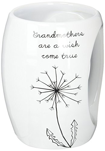 Pavilion Gift Company 77100 Dandelion Wishes Grandmothers are a Wish Come True Ceramic Hand Warmer Mug, White