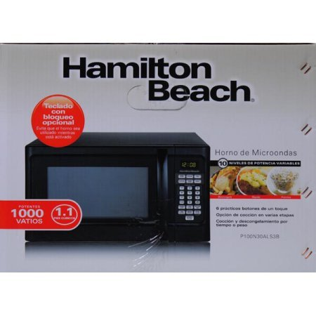 Amazon.com: Hamilton Beach P100N30AL 1000 Watts 1.1 cu. ft. Countertop Microwave Oven Black (Certified Refurbished): Kitchen & Dining