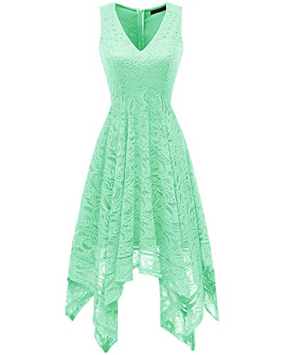 Bridesmay Women's Elegant V-Neck Sleeveless Asymmetrical Handkerchief Hem Floral Lace Cocktail Party Dress Mint M
