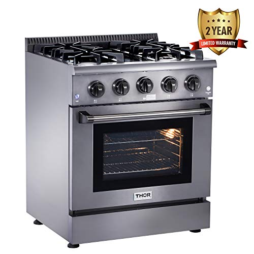 Thor Kitchen Black 30'' Gas Range with 4.2 cu.ft Electric Convection Oven in Stainless Steel - 4 Burners - 2-Years-Warranty - HRG3080-BS
