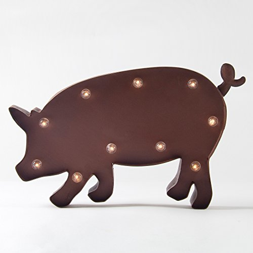 Glitzhome Rusty Marquee LED Lighted Pig Sign Wall Decor Battery - Street Nyc Spring