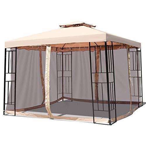 Tangkula Outdoor Canopy Gazebo Steel Frame Heavy Duty Garden Lawn Patio House Party Canopy Home Patio Garden Structures Gazebos W/Netting