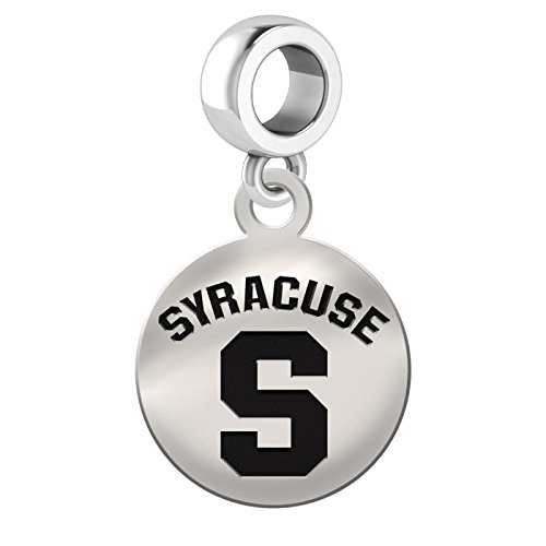 College Jewelry Syracuse University Orangemen Sterling Silver Round Drop Charm Fits All European Style (Syracuse Orangemen Bracelets)