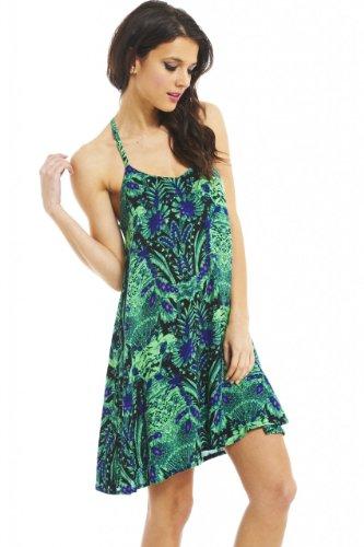 AX Paris Women's Tropical Print Strappy Green Swing Dress(Green, Size:8)