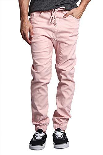 Victorious Men's Drop Crotch Jogger Twill Pants JG804 - Dirty Pink - X-Large
