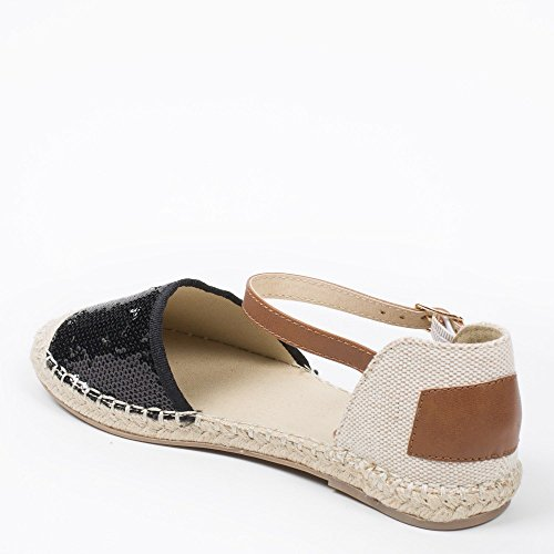 Ideal Shoes Sandale mit Bride Pailletten Dekoriert Vaite Schwarz
