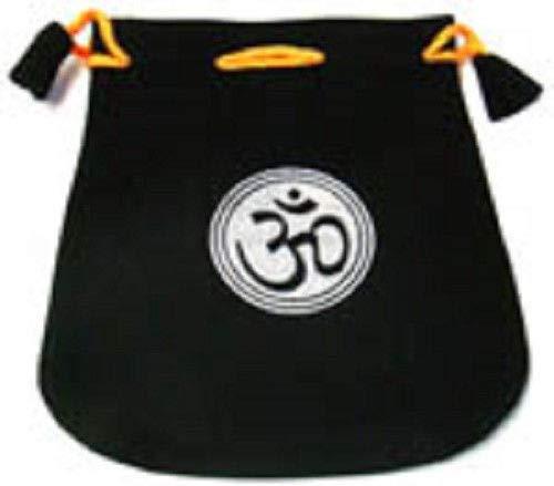 Black Velvet Bag/Pouch 5'' x 5'': Om Symbol (Wicca Talisman Drawstring)