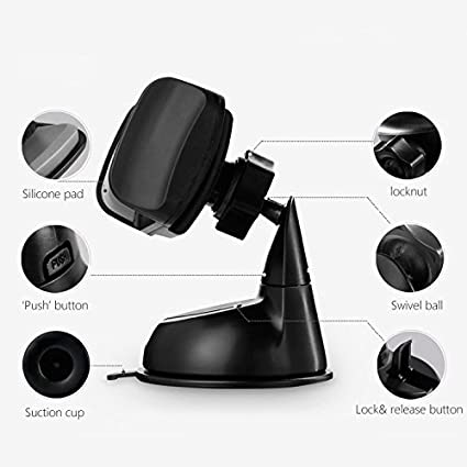 MAOBLOG Car Phone Mount,Universal 4-in-1 Dashboard Windshield Air Vent CD Slot Clip Holder Cradle for Samsung Galaxy S8 S7 S7 S6 and More to 4inch-6.3inch Phone. Black