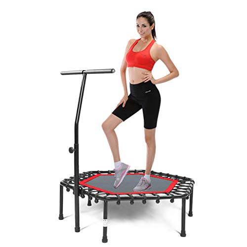 Safly Fun Fitness Trampoline Mini Trampoline for Adults/Kidswith Adjustable Handle Bar, Indoor Trampoline Rebounder for Adults - Exercise Rebounder Home Trainer for Cardio Workout 40'' (Red)