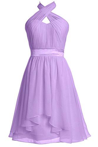 MACloth Women Chiffon Cocktail Party Formal Gown Halter Short Bridesmaid Dress Lavendel bdHKAKJ