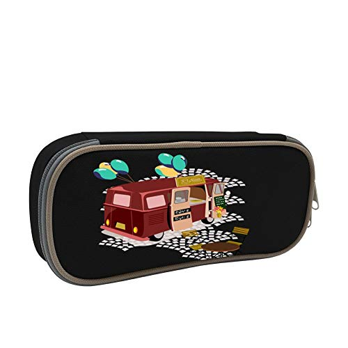 Wheels On Meals Large Capacity Multi-Layer Pencil Case Back To School Choice Black by dreambest