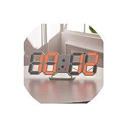 Asteria-Ashley 3D Wall Clock Modern Design Digital Table Clock Alarm Nightlight Watch for Home Living Room Decoration,Orange A