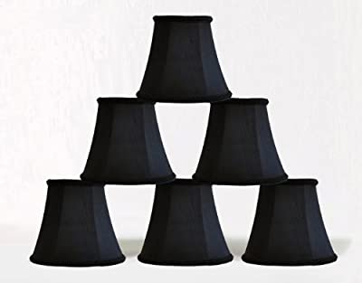 Urbanest 1100467c set of 6 Chandelier Mini Lamp Shade 5-inch, Bell, Clip On, Black
