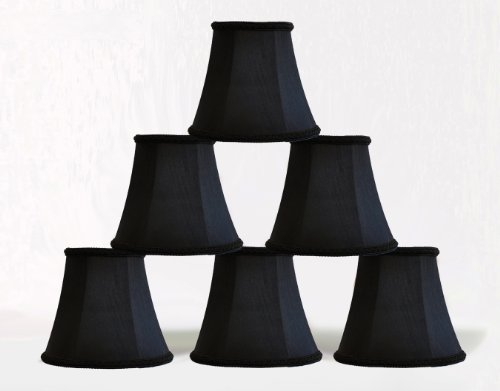 Urbanest 1100467c set of 6 Chandelier Mini Lamp Shade 5-inch, Bell, Clip On, Black - Black Chandelier Lamp Shades