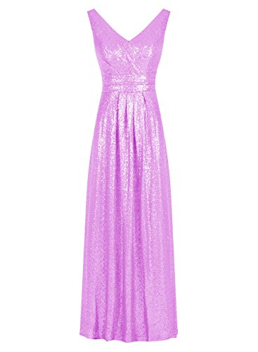 Tideclothes Long V-neck Prom Dress Sequined Sparkling Evening Bridesmaid Dress Purple US2 (Big Poofy Dresses)