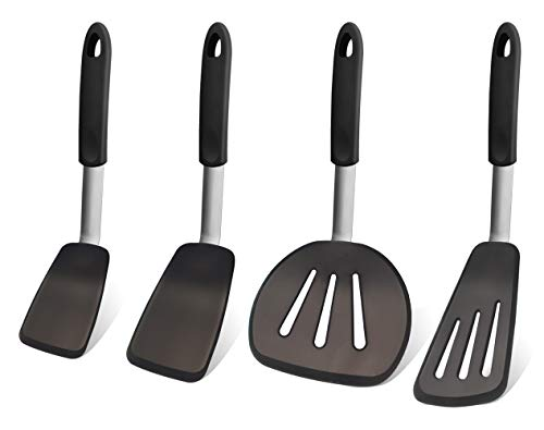 (GEEKHOM Silicone Turner Spatula Set, 600°F Heat Resistant Flexible Large Cooking Utensils, Nonstick Rubber Stainless Steel Kitchen Cookware for Cooking Flipping Pressing Fish Pancake Eggs -4 Pack)