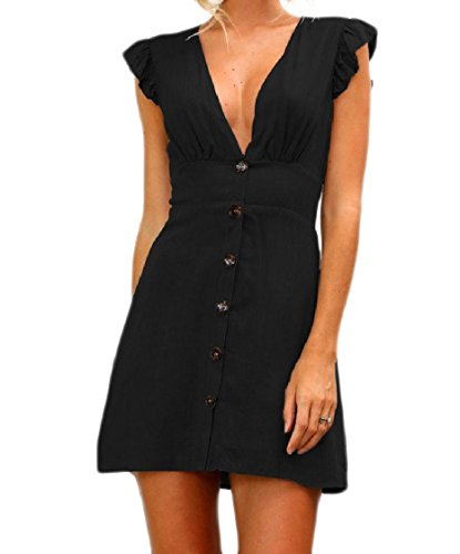 Black Coolred Exotic Color Clubwear Dress up Cocktail Tunic Neck Pure Women V Button SpqSa7w