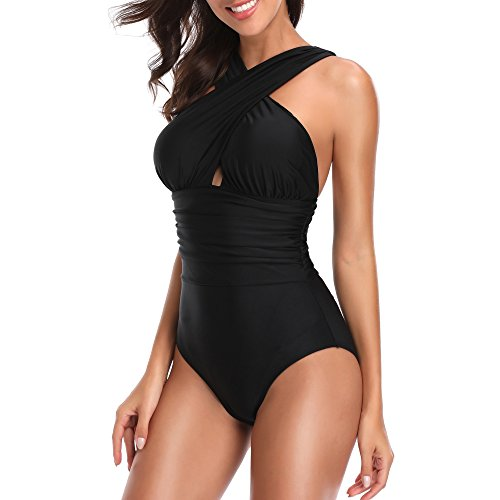 b89680e64d W YOU DI AN Women's Swimsuits One Piece Tummy Control Front Cross Backless Swimsuit  Bathing Suit