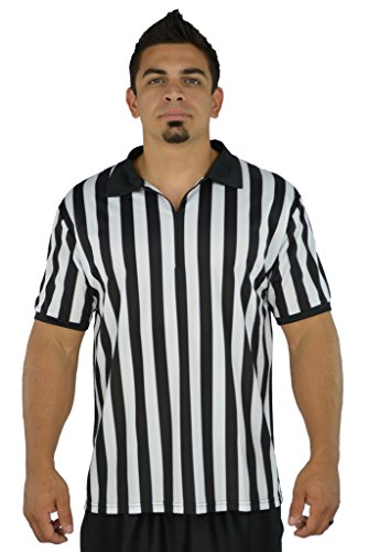 Mato & Hash Mens Referee Shirts/Umpire Jersey with Collar for Officiating + Costumes + More! - Black/White CA2050ZIP L