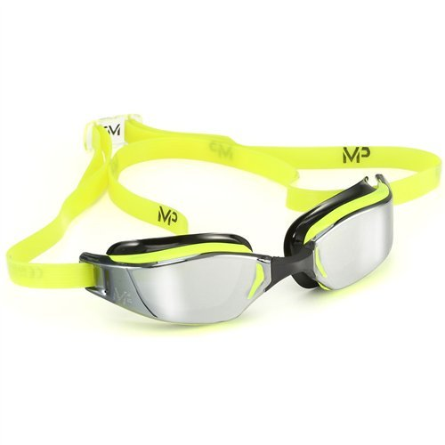 (MP Michael Phelps XCEED Swimming Goggles, Mirrored Lens, Yellow/Black Frame)